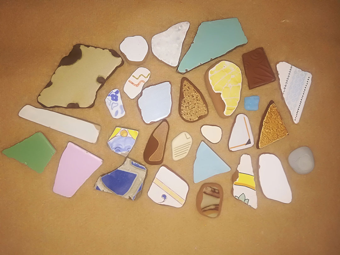 My collection of broken tiles found at Maronti Beach